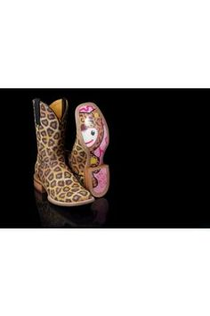 Women's Brown Tin Haul Leopard Print Vamp And Shaft Hello Kitty Western Wear