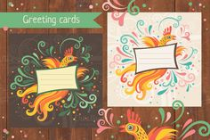 Check out Cute greeting card with bird by piyacler on Creative Market