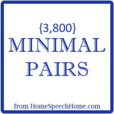 3800+ Minimal Pairs for Speech Therapy Practice