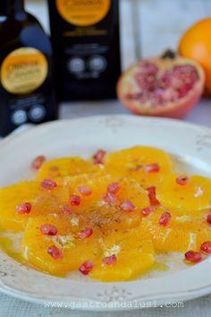 Naranjas con azúcar, canela, granada y AOVE