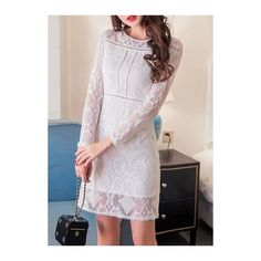 High Waist Long Sleeve White Lace Dress (£25) ❤ liked on Polyvore featuring dresses, gowns, white, long sleeve ball gowns, white gown, white evening gowns, white ball gowns and long-sleeve lace dress