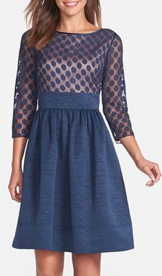 blue polka dot fit and flare dress