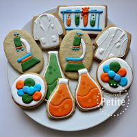 Lab/Science Biscuits      Sweet Petite Orange, Green, Blue, Test Tube, Microscope