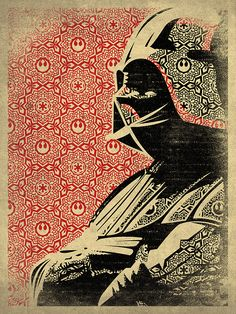 """Darth Vader"" by Danny Haas. This is awesome, for its pop cultural relevance, its clever use of the Empire's logo, and its overall Sheppard Fairey-esque aesthetic. Haas' aesthetic stands on its own though. A sublime piece."