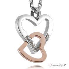 Herz Anhänger Silber Rosegold  Zirkonia inkl. Kette...
