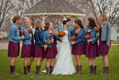 41 Vintage Wedding Day Outfit Ideas Using Country Boots Bridesmaid Dresses country bridesmaid dresses Denim Wedding, Maroon Wedding, Camo Wedding, Wedding Bridesmaids, Blue Jean Wedding, Autumn Wedding, Rustic Wedding, Cowboy Boot Wedding, Bridesmaids