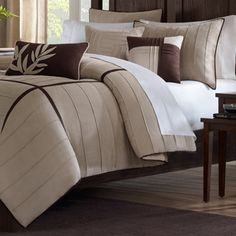 Madison Park Dune Beige/Brown 7-piece Contemporary Comforter Set | Overstock.com Shopping - The Best Deals on Comforter Sets