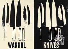 Knives, c. 1981-82 (Cream and Black) Art Print by Andy Warhol at Art.co.uk