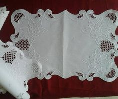 """Image result for You saved to embroidery 6 Vintage Ecru Linen Tablecloth Set Cutwork Hand Embroidered Tulip Basket 82"""""""