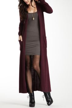 Floor length cardigan....if I was tall and skinny. I would love to rock this outfit.