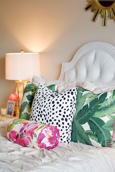Bright decor with white headboard