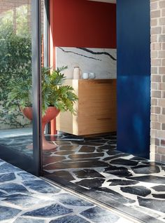 Polychrome House by Amber Road - A Vibrant Design & Celebration of Life - The Local Project Surface Design, Slate Flooring, Crazy Paving, Flooring, Stone Flooring, Gorgeous Kitchens, Floor Design, Home Decor, Patio Style
