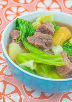 Nilagang Baka is a simple Filipino beef soup. There are many ways to prepare Nilagang Baka; this Nilagang baka recipe that I am featuring is probably the tastiest among the versions that I know because I used some sort of mirepoix to infuse flavor to the soup – I'm talking about the addition of onion, celery, and star anise in the initial step so that the soup will be flavorful even before we add the beef.