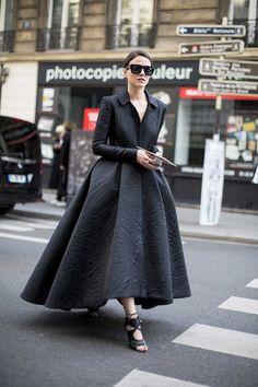 Retro Inspired Street Style. So fifties Couture! Fall 2015 Paris fashion week - Zina Charkoplia in Ashi Studio Couture