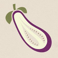 SANUKKA - Aubergine - Eggplant illustration by Saana Essel 2013 Vegetable Illustration, Plant Illustration, Botanical Illustration, Graphic Illustration, Graphic Art, Graphic Design, Food Patterns, Guache, Food Drawing