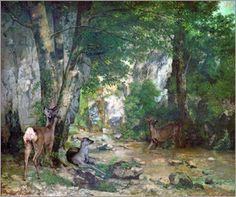 Gustave Courbet 1819-1877  - Remise de chevreuils au ruisseau de Plaisir-Fontaine (Doubs), 1866, hst, 174x209, MO