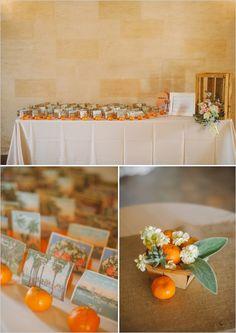 orange escort card station http://www.weddingchicks.com/2013/09/20/vintage-destination-wedding/