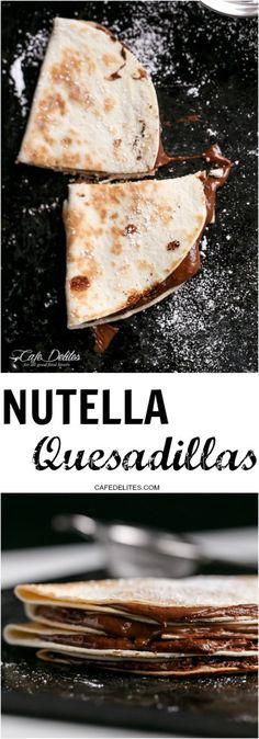 Simple Nutella Quesadillas in under 5 minutes! | http://cafedelites.com