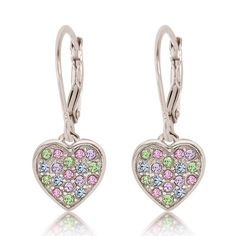 01f8cb9b1 Kids Earrings - Sterling Silver Gold Plated Mixed Colored Crystal Heart  Leverback Children's Earrings Made With Swarovski Elements kids, children,  girls, ...