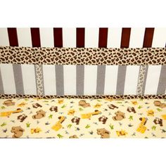 Little Bedding by NoJo Jungle Dreams Secure-Me Crib Liner
