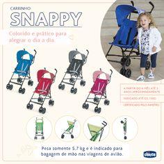 O carrinho Snappy é colorido e divertido para animar os seus dias. Leve e fácil de fechar é ideal para passeios rápidos com a criança, garantindo conforto e segurança. Para as mamães que precisam viajar de avião com os seus bebês o Snappy é perfeito para acompanhar suas viagens. Pesando somente 5,7 kg e é indicado para bagagem de mão nas viagens de avião.