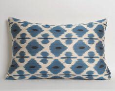 White Blue Silk Ikat Pillow Cover Blue Silk Ethnic by pillowme