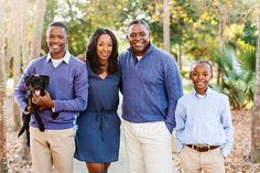 A beautiful African American family of four by Kristen Curette & Daemaine Hines - Stocksy United Family Pictures What To Wear, Family Picture Outfits, Fall Family Portraits, Family Posing, Black Love, Black Is Beautiful, Blue And White Outfits, Black Families, Beautiful Family