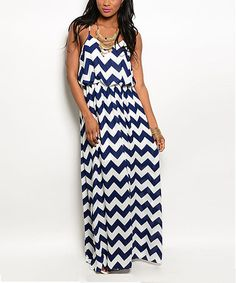 This Navy & White Chevron Maxi Dress by Shop the Trends is perfect! #zulilyfinds