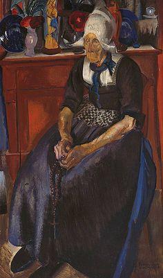 Portrait of Geert Karregat, Volendam by Pieter 'Piet' van der Hem (Dutch 1885-1961)