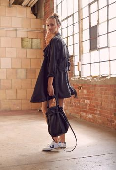 Womens Sport to Street: Athletic Inspired Everyday Luxe. Drapey Trench + Leather Bucket Bag