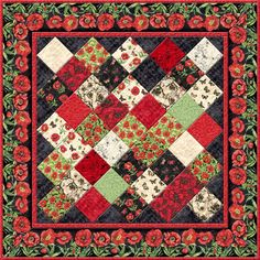 Wilmington Prints Harlequin Poppies Susan Winget On Point Table Top Quilt Kit