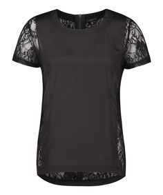 cute black tee with lace sleeves and back