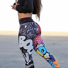 96dc81057aeb49 NEW Fitness Clothing Women Sports Running Gym Leggings Word Comic Print  Elastic Band Breathable Yoga Pants