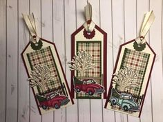 Diy Christmas Tags, 25 Days Of Christmas, Christmas Truck, Stampin Up Christmas, Christmas Projects, Handmade Christmas, Plaid Christmas, Pinterest Christmas Cards, Etiquette Vintage
