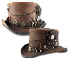 Chapel Hats - Steam Punk Time Port Top Hat with Kitchen Sink Band by Head n Home, $379.99 (http://www.chapelhats.com/shop-hats/top-hats/steam-punk-time-port-top-hat-with-kitchen-sink-band-by-head-n-home/)
