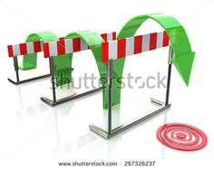 Arrow jumping over hurdles - stock photo
