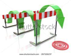 Arrow jumping over hurdles - stock photo
