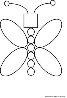 butterfly from shapes free color page - Free Printable Colouring Sheets