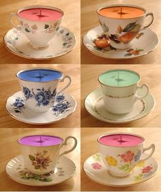 : Afternoon Tea Tuesday: Teacup candles--very cute bridesmaid favors Homemade Candles, Diy Candles, Homemade Gifts, Scented Candles, Velas Diy, Tea Wedding Favors, Teacup Crafts, Teacup Candles, Candle Art