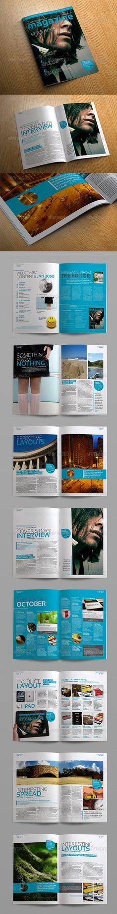 Stylish InDesign Magazine Template  #GraphicRiver