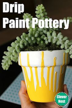 A simple DIY. Drip paint flower pot.- this is good for the kiddos to help out with or make as a nice present for grandma or a teacher:) Do the yellow the opposite way and make a ruler at the top