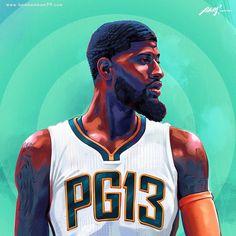 """1,553 次赞、 18 条评论 - Posterizes • NBA Art & Design (@posterizes) 在 Instagram 发布:""""With Paul George heading into his final year of his contract next season, will the Pacers look to…"""""""