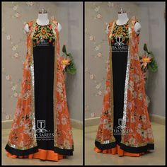 Looking for something new here is a beautiful black  chiffon floor length teamed with  orange floral overcoat!!!TS-DS- 499Available  For orders/queriesCall/ whats app on8341382382 orMail at tejasarees@yahoo.com. 23 August 2017