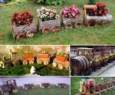 Wooden Train Log Planters