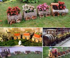 Wooden Train Log Planters