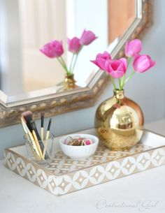 diy bone inlay inspired tray using the Nagoya Craft Stencil from Cutting Edge Stencils and gold metallic paint.