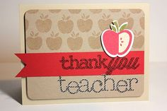 Thank You Teacher Card by Heather Nichols for Papertrey Ink (August 2013)