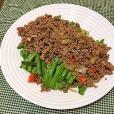 Buncis Siram Daging Cincang Mudah/ Tumis Buncis Daging Cincang