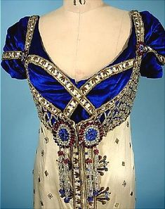 c. 1910 Jeweled Satin and Velvet Gown Designed for Madame De Bittencourt. Assumed Edwardian Costume for Fancy Dress Regency Ball.