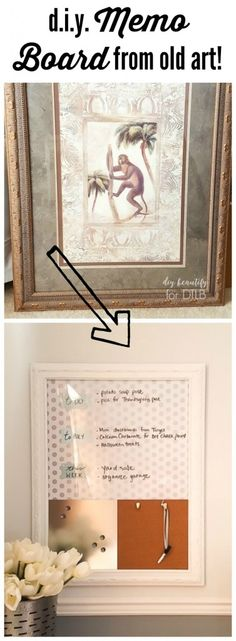 WOW! A discarded picture is transformed into a functional and cute office memo board by diy beautify for Designer Trapped in a Lawyer's Body!